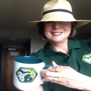 Cathy Davidson shows off the HASTAC 2015 mug!